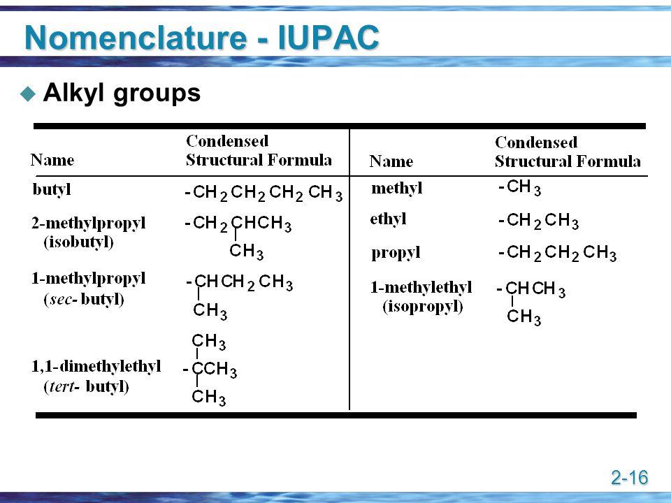 Nomenclature - IUPAC Alkyl groups