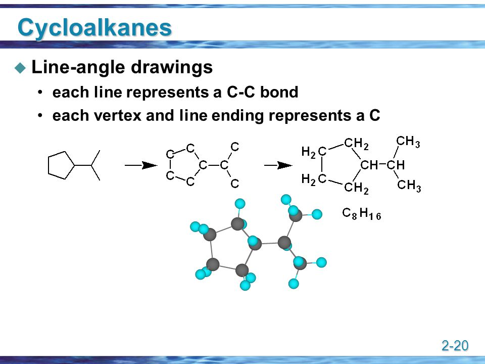 Cycloalkanes Line-angle drawings each line represents a C-C bond