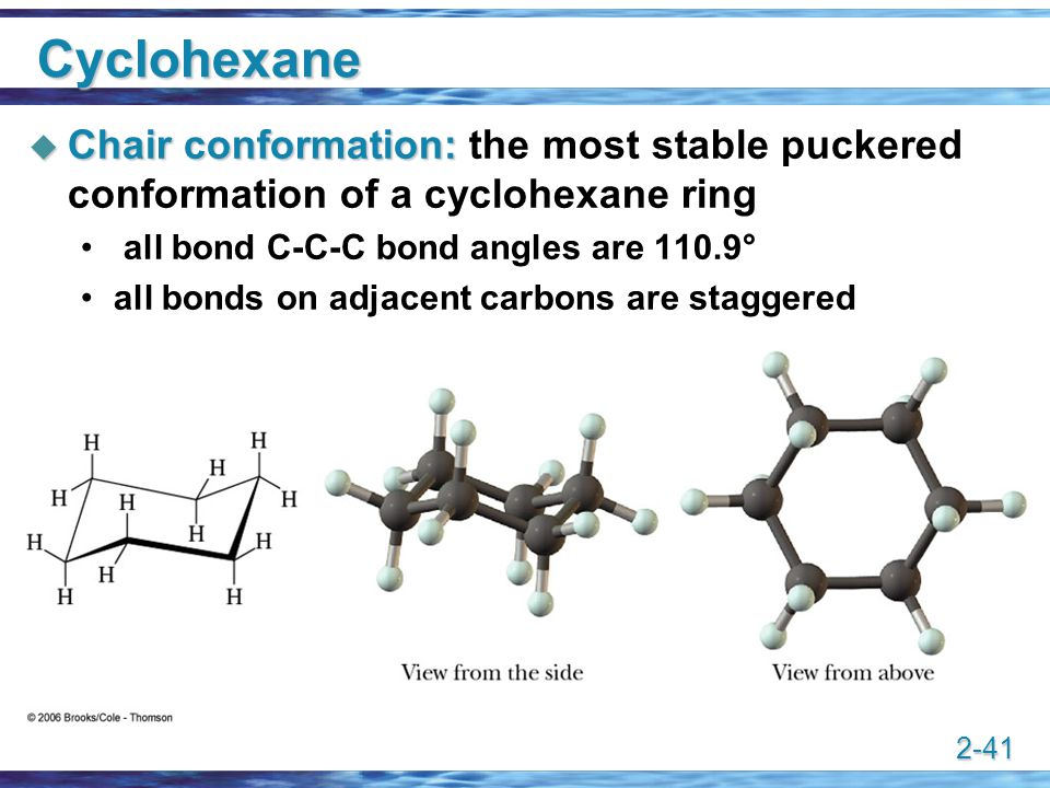 Cyclohexane Chair conformation: the most stable puckered conformation of a cyclohexane ring. all bond C-C-C bond angles are 110.9°
