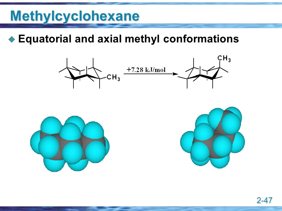 Methylcyclohexane Equatorial and axial methyl conformations