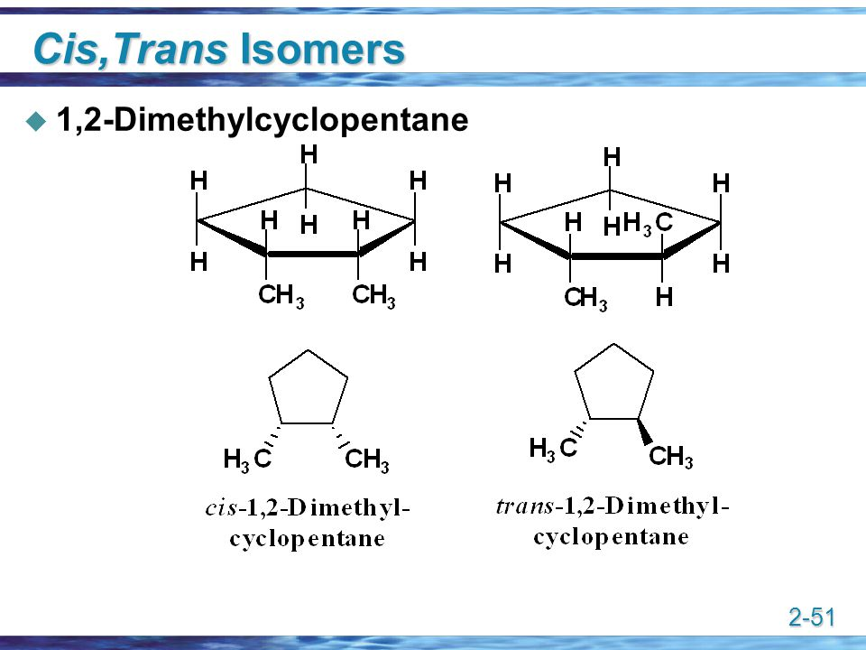 Cis,Trans Isomers 1,2-Dimethylcyclopentane