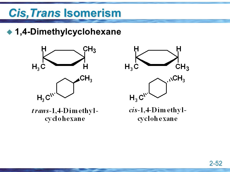 Cis,Trans Isomerism 1,4-Dimethylcyclohexane