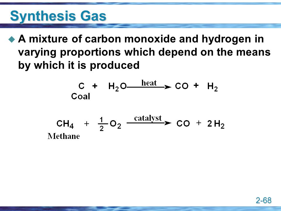 Synthesis Gas A mixture of carbon monoxide and hydrogen in varying proportions which depend on the means by which it is produced.