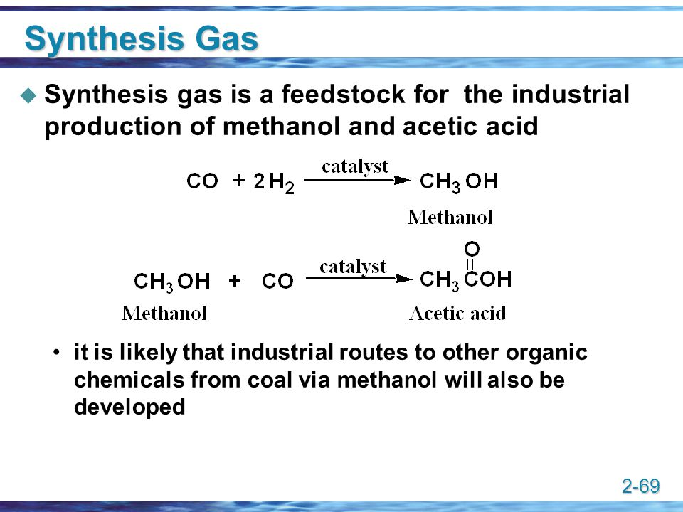 Synthesis Gas Synthesis gas is a feedstock for the industrial production of methanol and acetic acid.