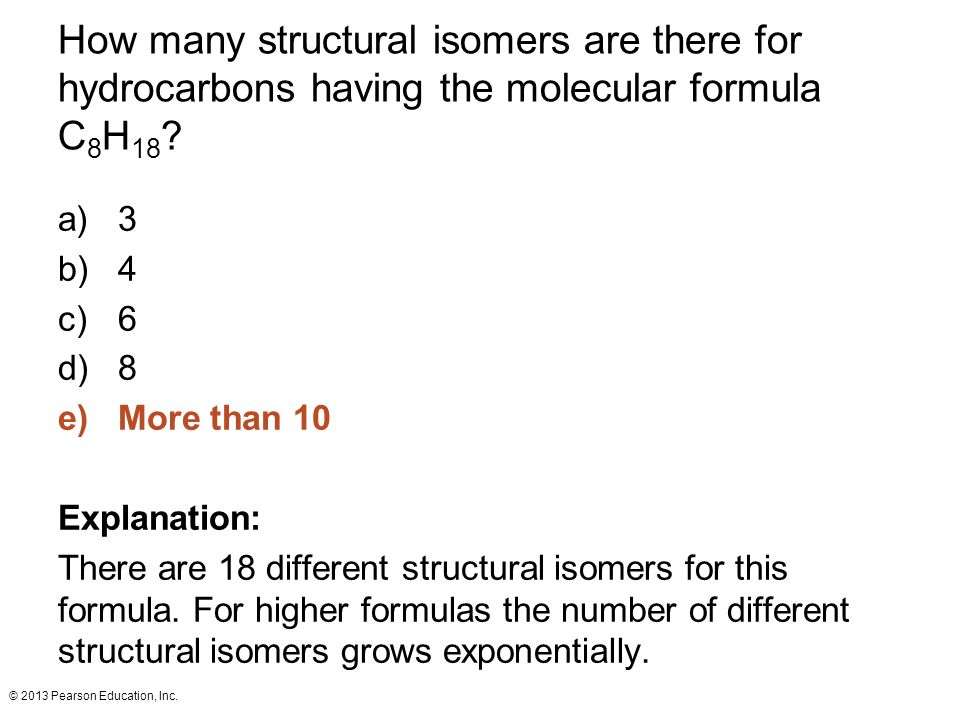 How many structural isomers are there for hydrocarbons having the molecular formula C8H18