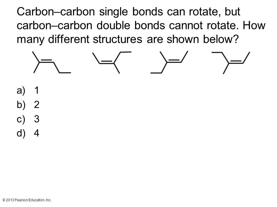 Carbon–carbon single bonds can rotate, but carbon–carbon double bonds cannot rotate. How many different structures are shown below