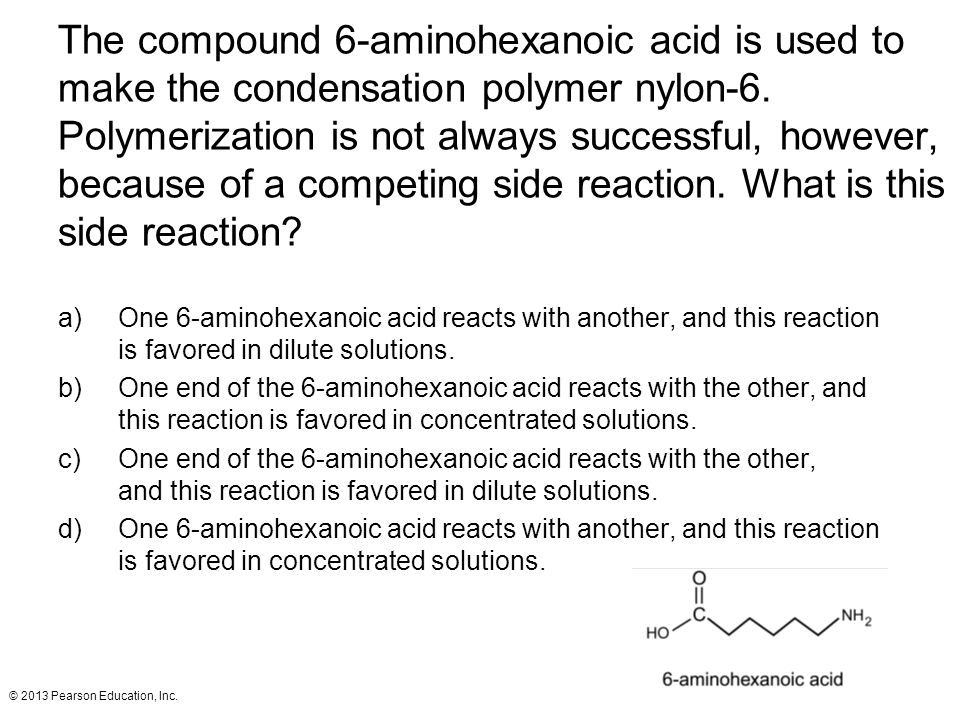 The compound 6-aminohexanoic acid is used to make the condensation polymer nylon-6. Polymerization is not always successful, however, because of a competing side reaction. What is this side reaction