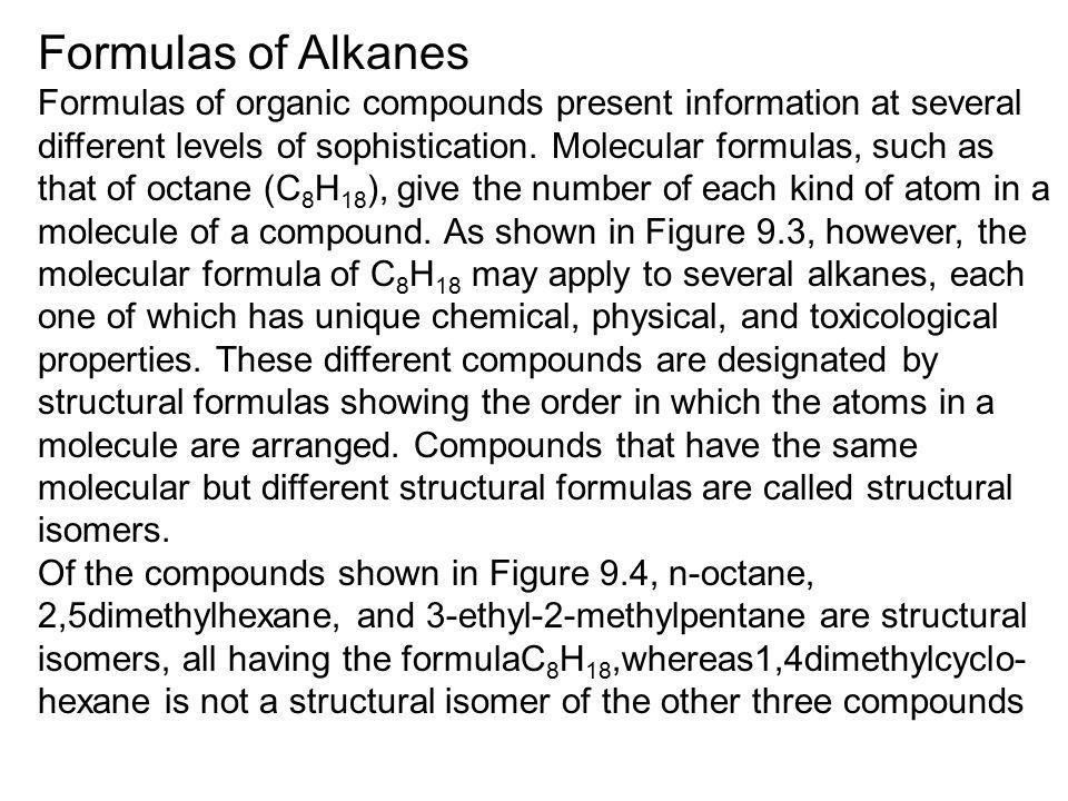 Formulas of Alkanes