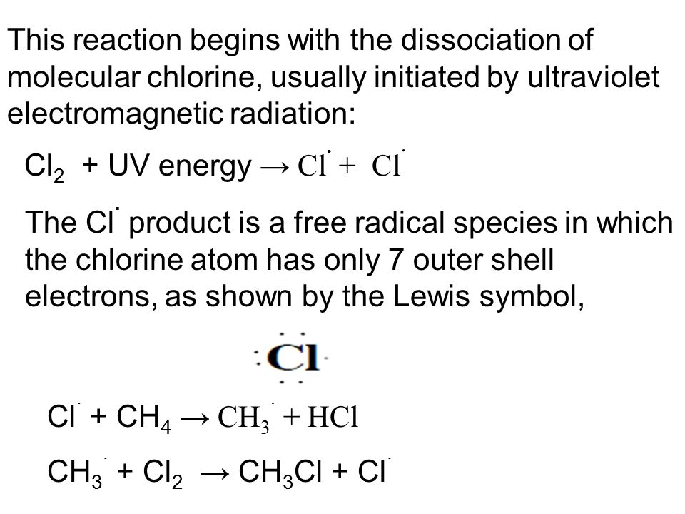 This reaction begins with the dissociation of molecular chlorine, usually initiated by ultraviolet electromagnetic radiation: