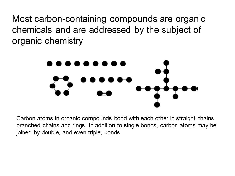 Most carbon-containing compounds are organic chemicals and are addressed by the subject of organic chemistry