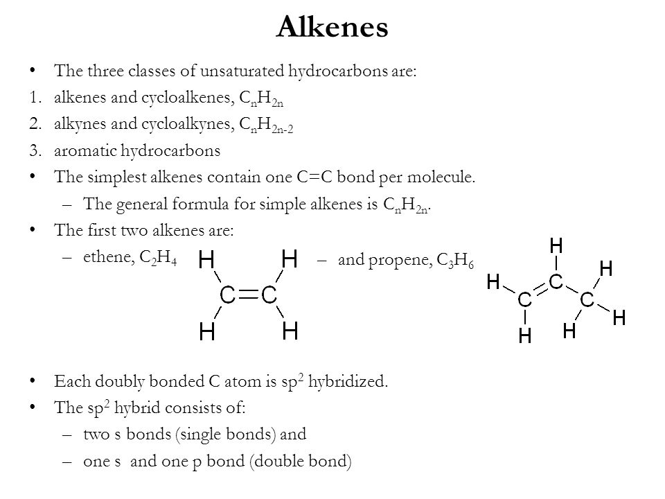 Alkenes The three classes of unsaturated hydrocarbons are: