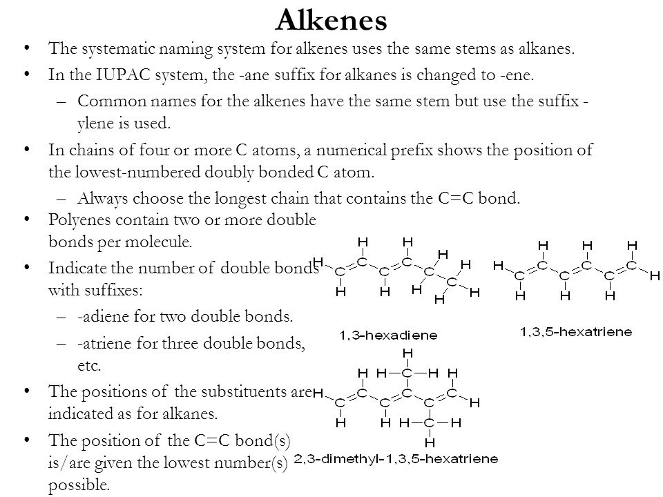 Alkenes The systematic naming system for alkenes uses the same stems as alkanes.
