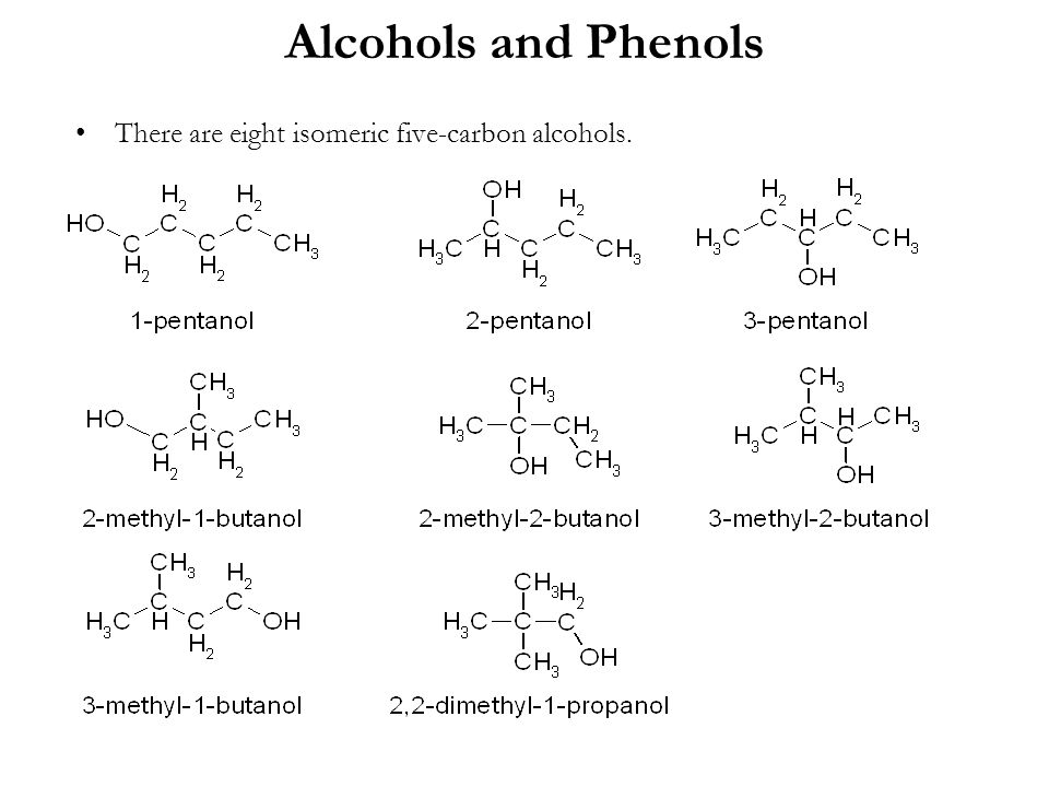Alcohols and Phenols There are eight isomeric five-carbon alcohols.