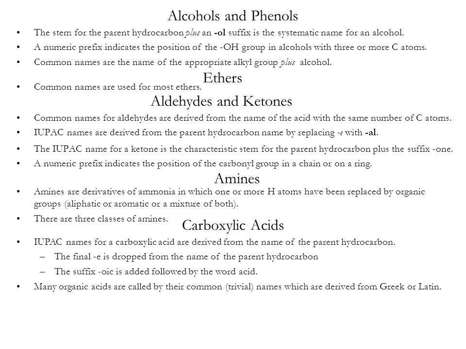 Alcohols and Phenols Ethers Aldehydes and Ketones Amines