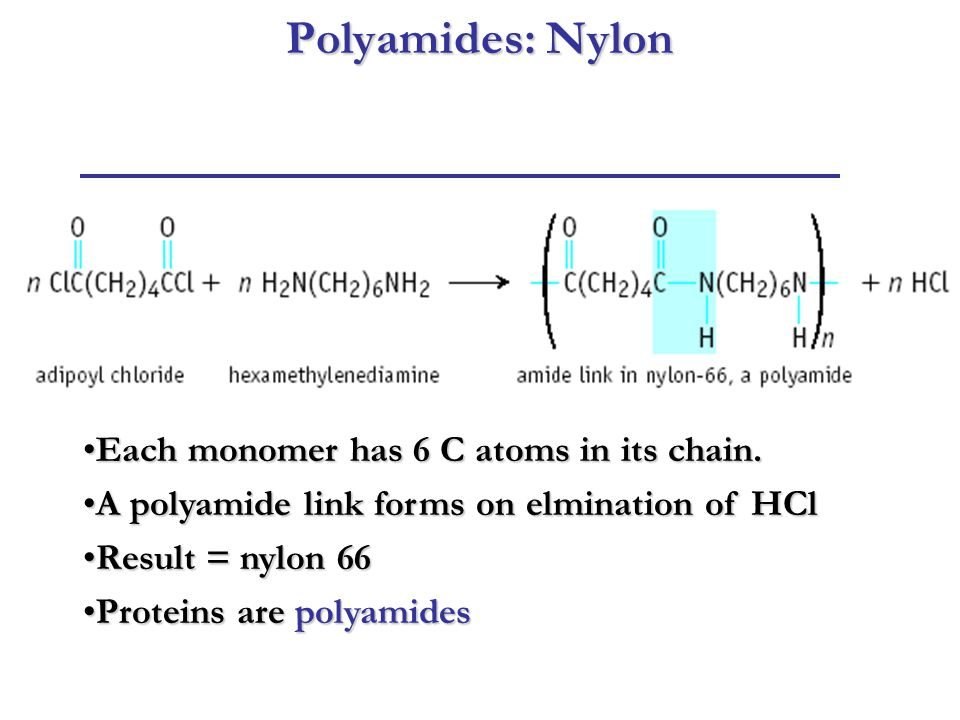 Polyamides: Nylon Each monomer has 6 C atoms in its chain.