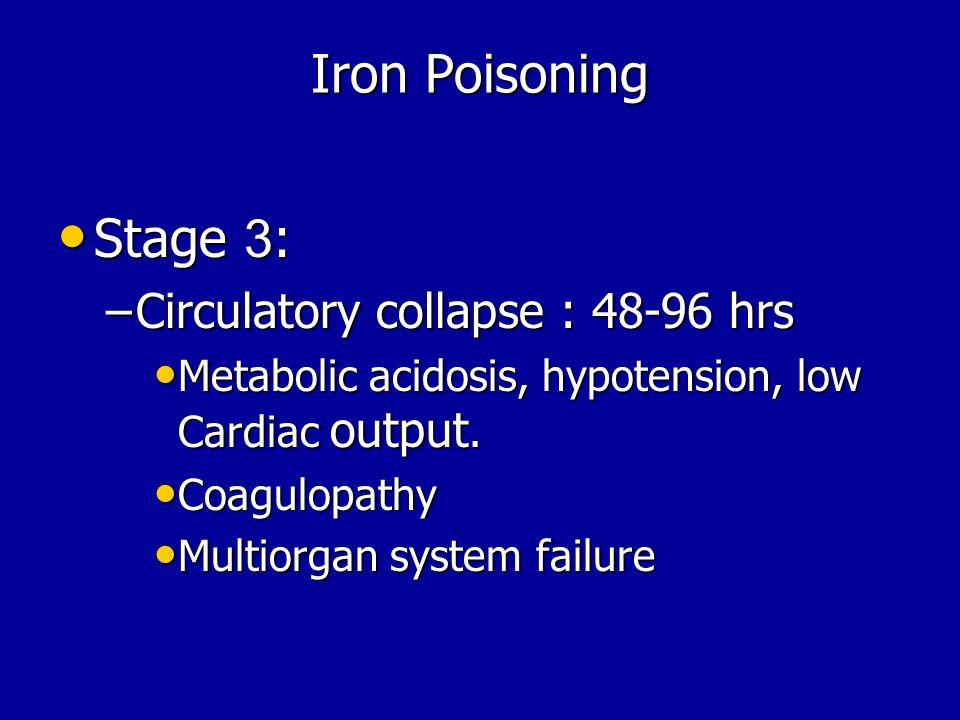 Iron Poisoning Stage 3: Circulatory collapse : 48-96 hrs