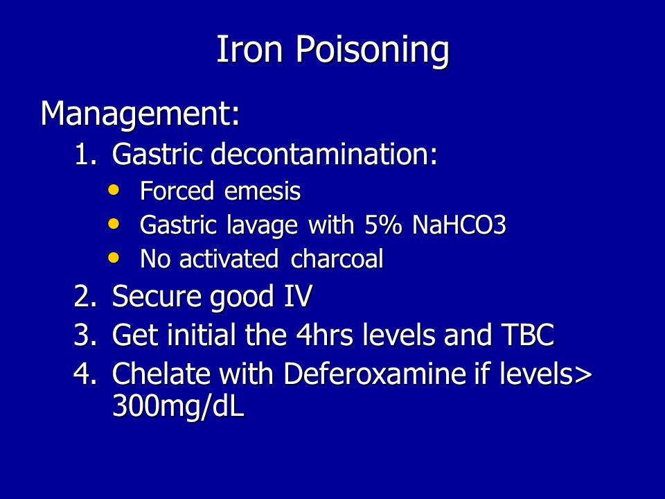 Iron Poisoning Management: Gastric decontamination: Secure good IV