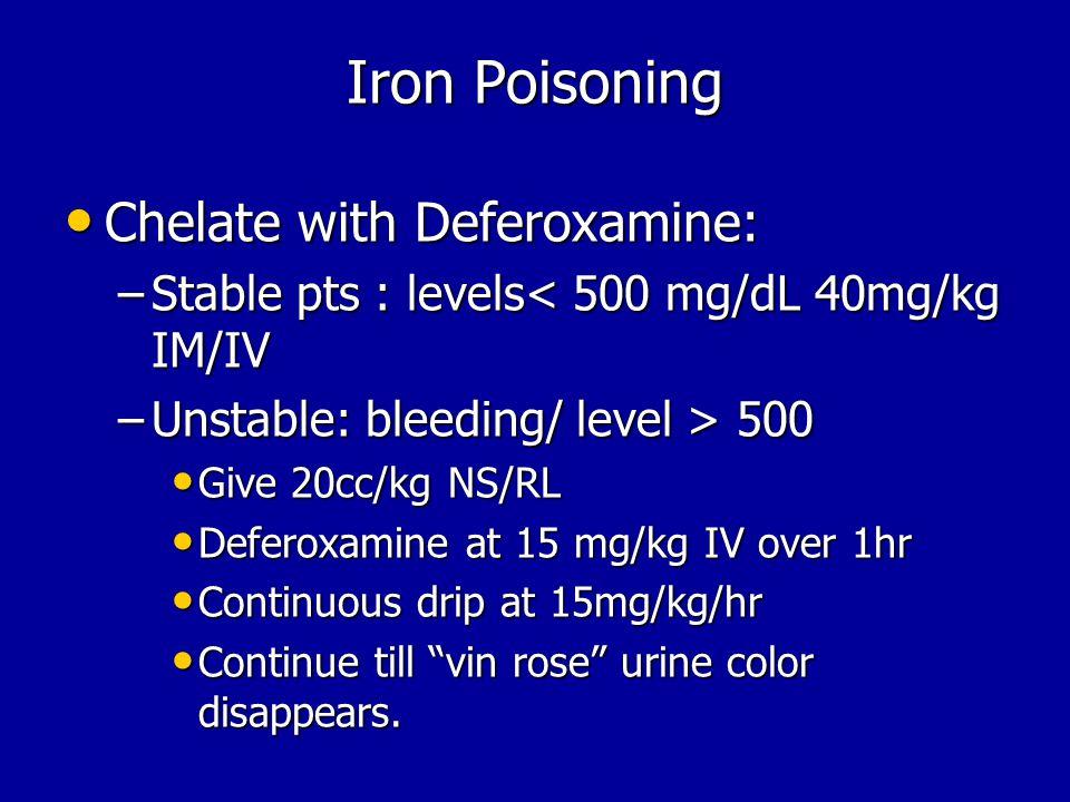 Iron Poisoning Chelate with Deferoxamine: