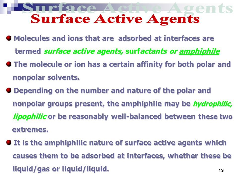 Surface Active Agents Molecules and ions that are adsorbed at interfaces are. termed surface active agents, surfactants or amphiphile.