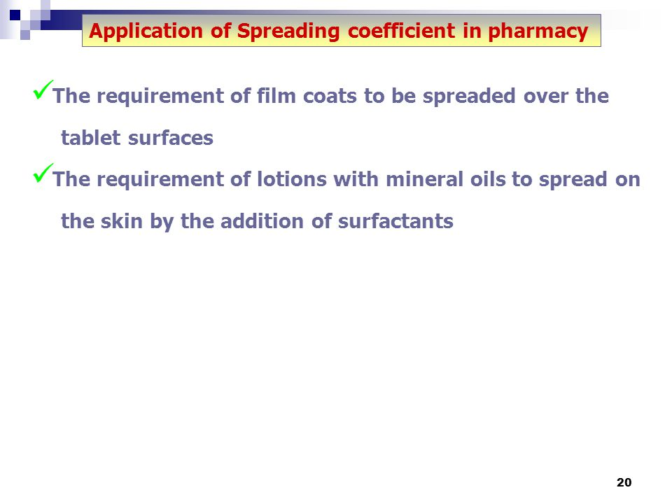 Application of Spreading coefficient in pharmacy