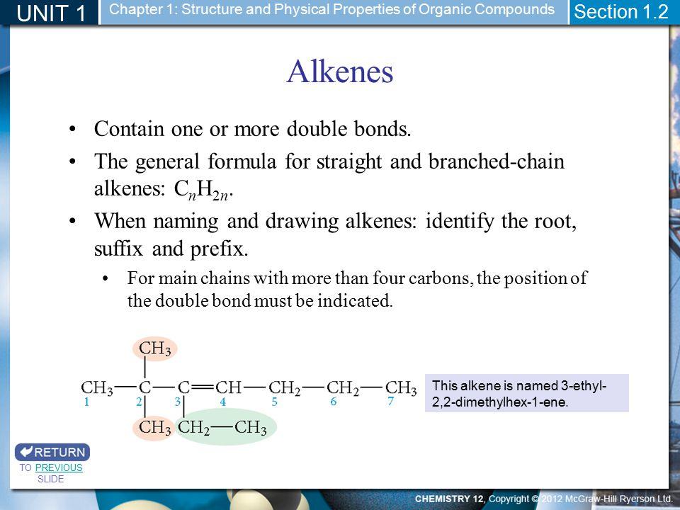 Alkenes UNIT 1 Contain one or more double bonds.
