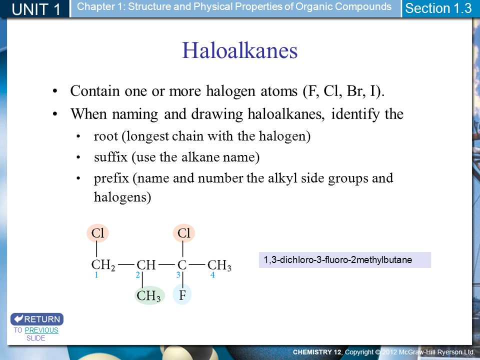 Haloalkanes UNIT 1 Contain one or more halogen atoms (F, Cl, Br, I).