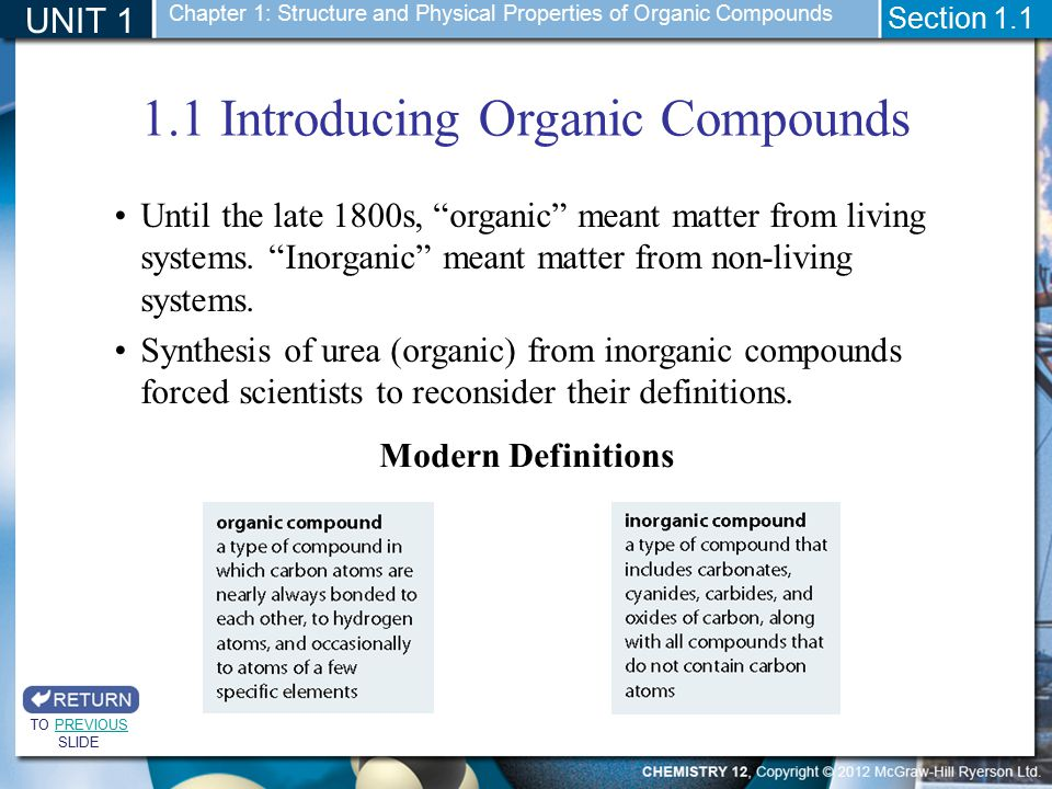 1.1 Introducing Organic Compounds