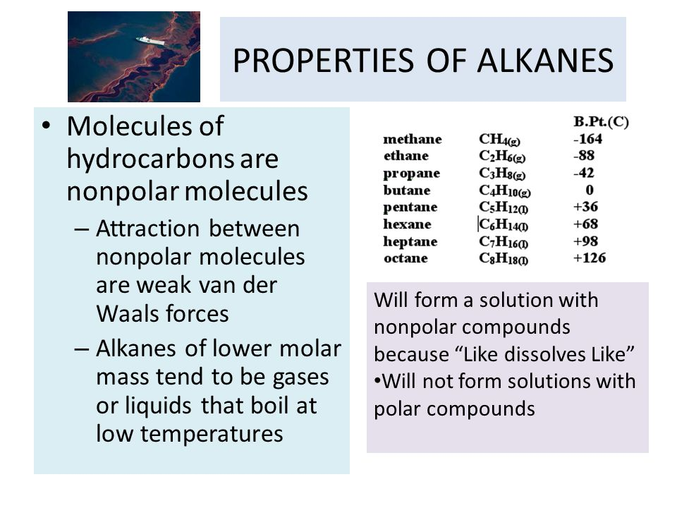 PROPERTIES OF ALKANES Molecules of hydrocarbons are nonpolar molecules