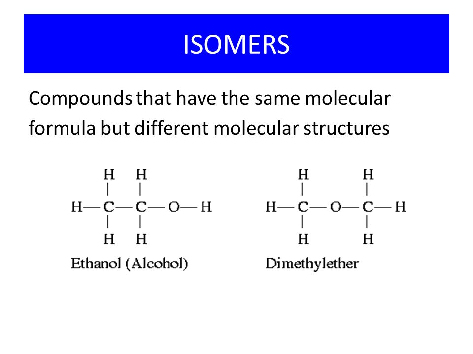 ISOMERS Compounds that have the same molecular
