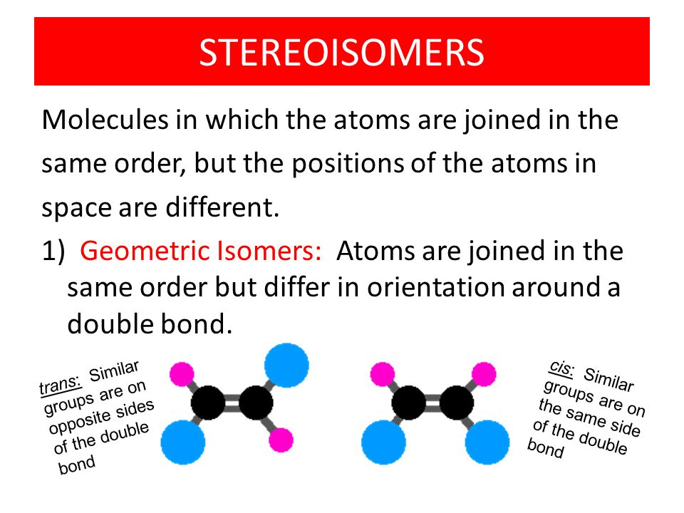 STEREOISOMERS Molecules in which the atoms are joined in the