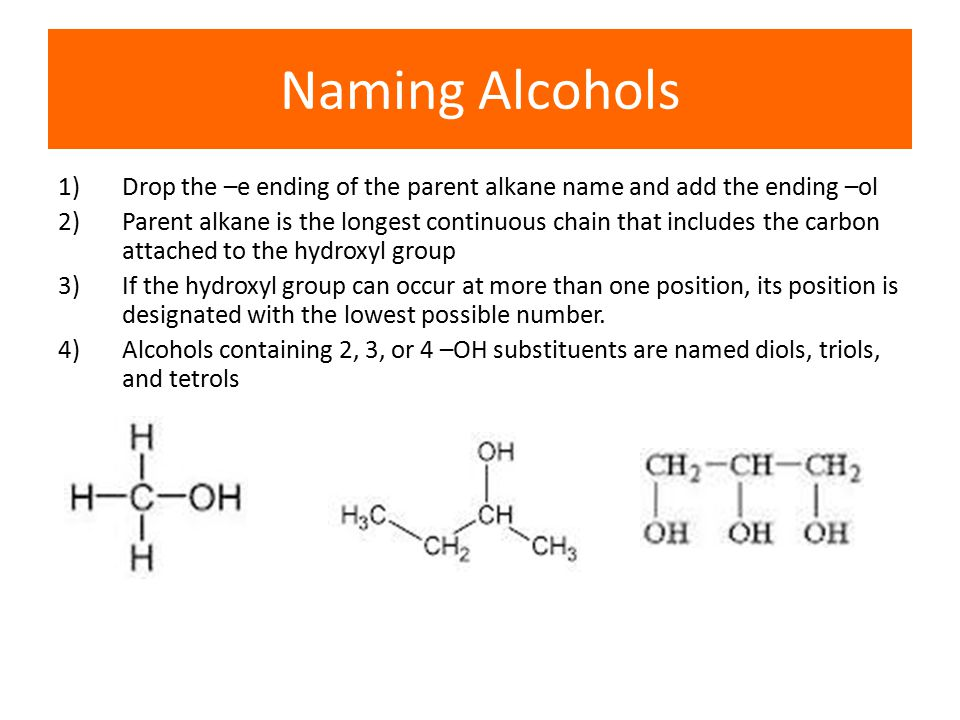 Naming Alcohols 1) Drop the –e ending of the parent alkane name and add the ending –ol.