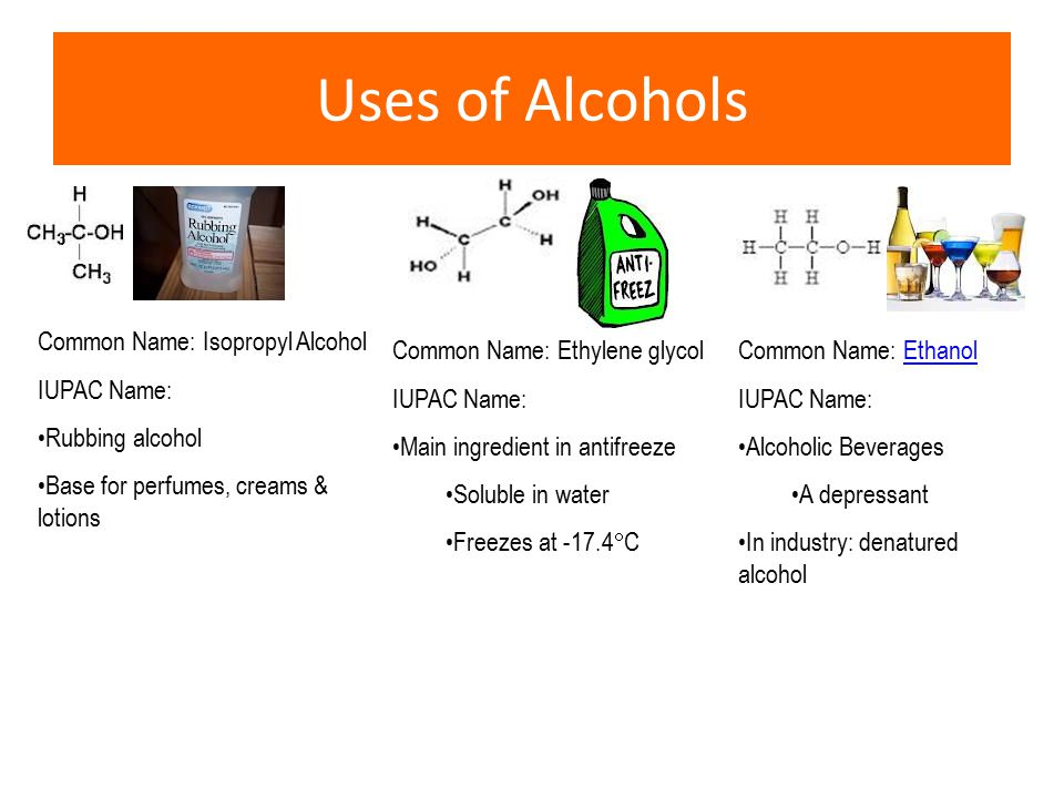 Uses of Alcohols Common Name: Isopropyl Alcohol IUPAC Name: