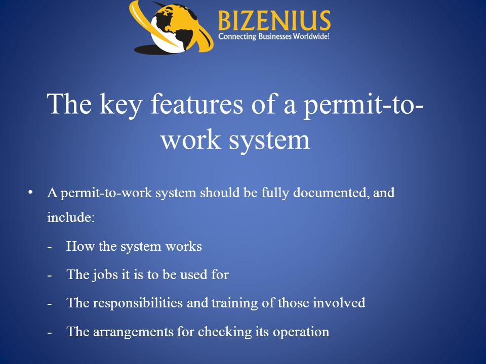 The key features of a permit-to-work system