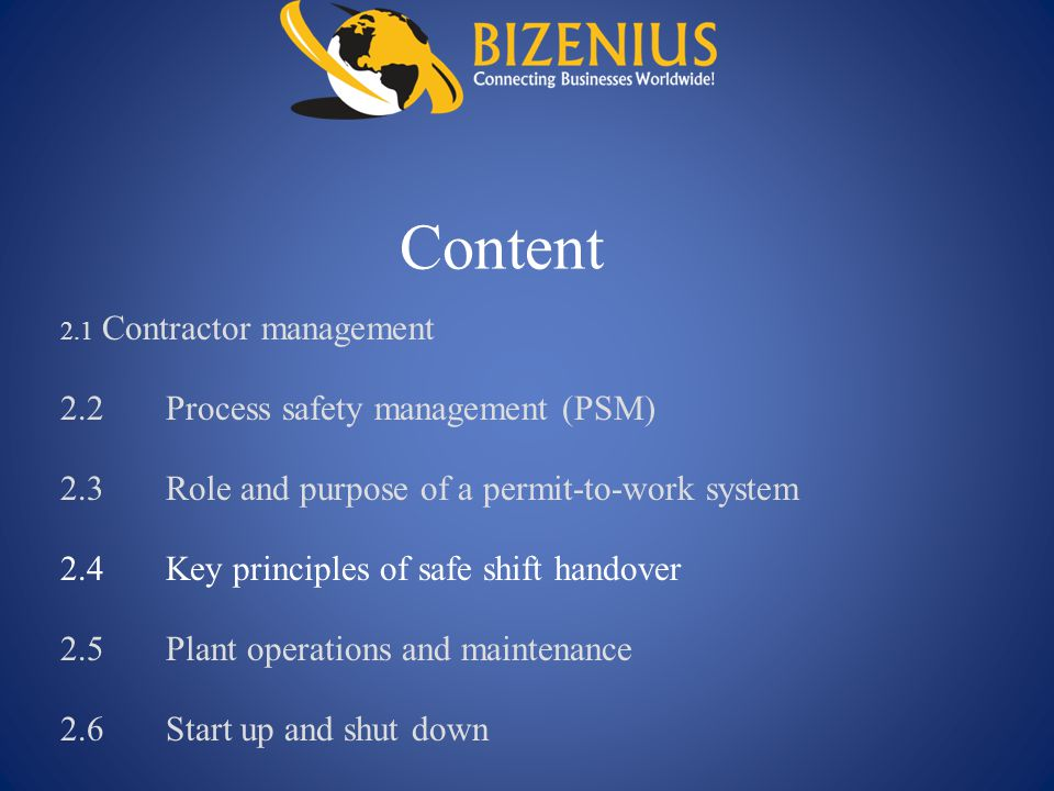 Content 2.2 Process safety management (PSM)