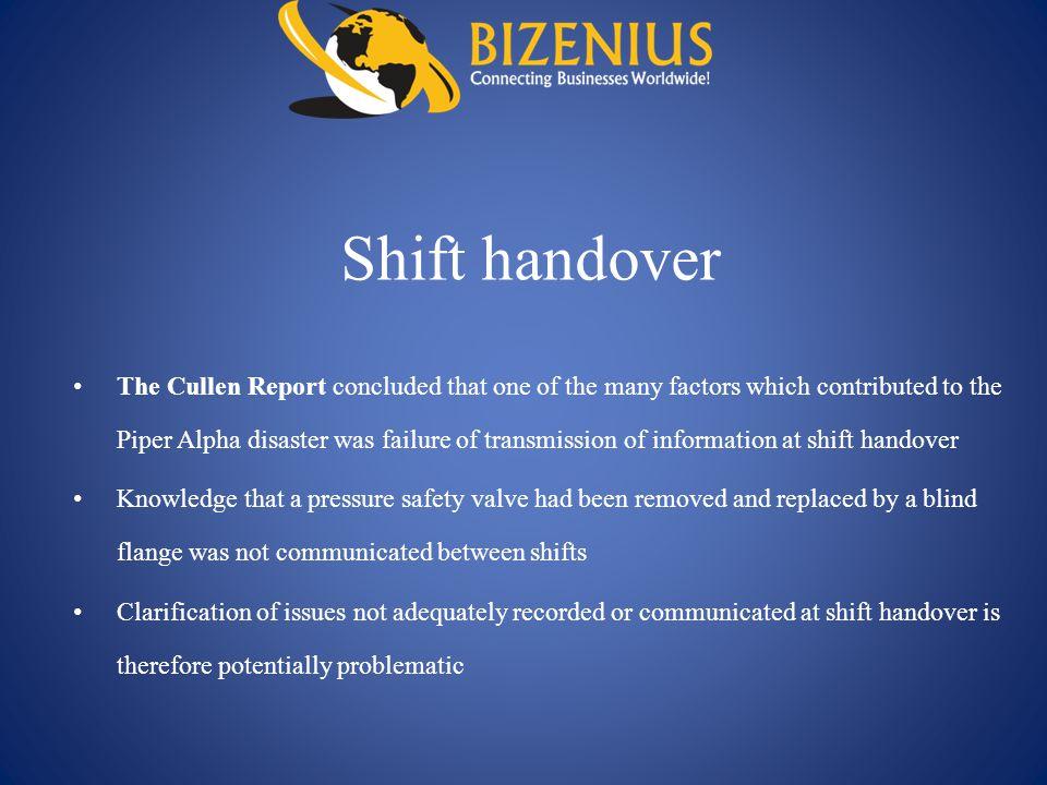 Shift handover