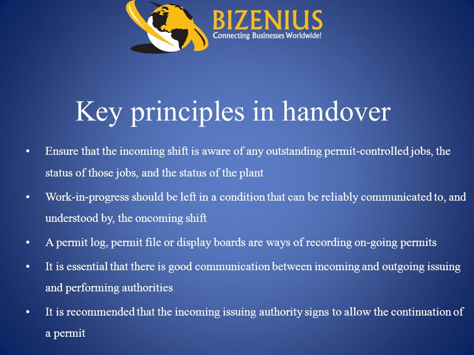 Key principles in handover