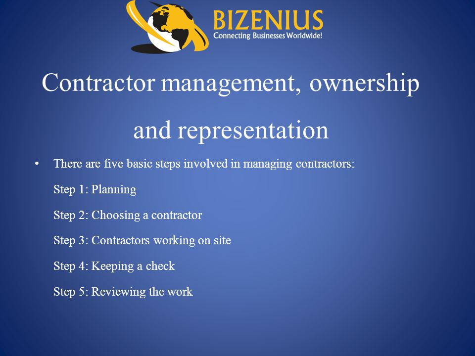 Contractor management, ownership and representation