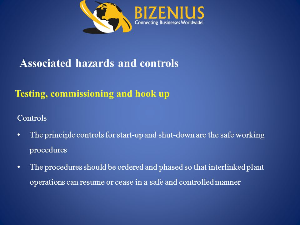 Associated hazards and controls