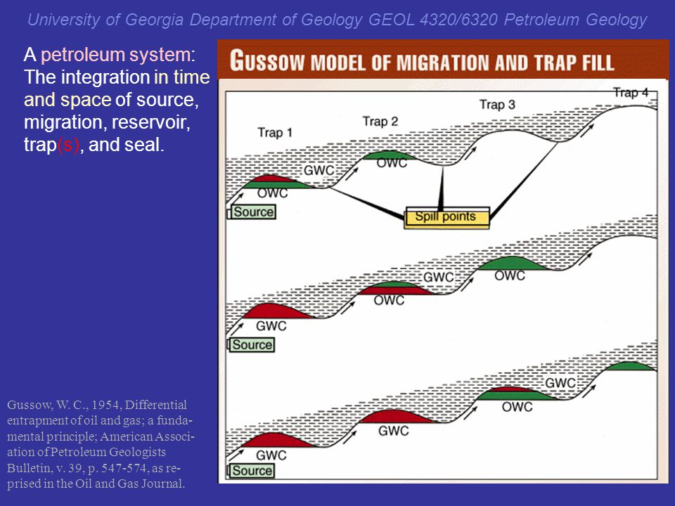The integration in time and space of source, migration, reservoir,