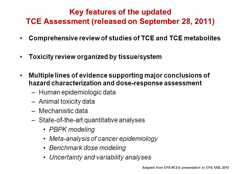 Key features of the updated TCE Assessment (released on September 28, 2011)