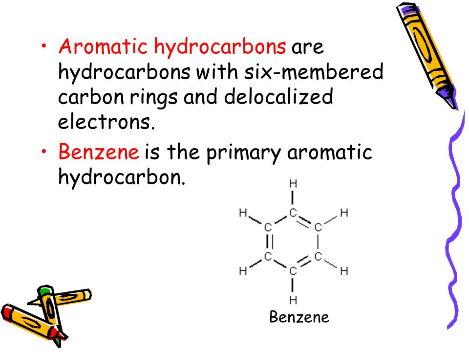 Benzene is the primary aromatic hydrocarbon.