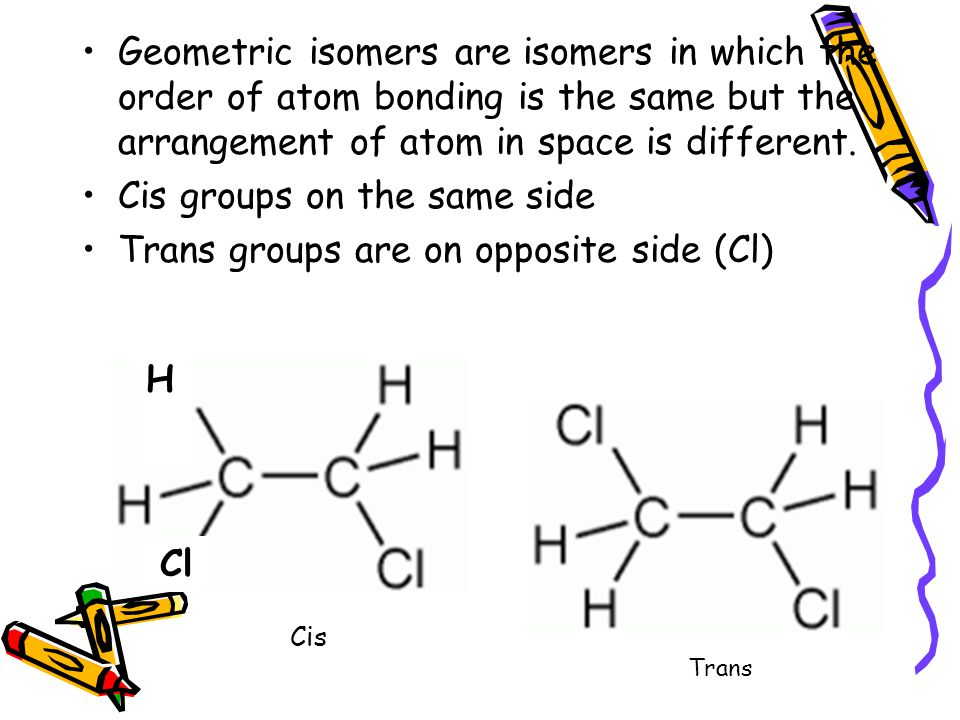 Cis groups on the same side Trans groups are on opposite side (Cl)