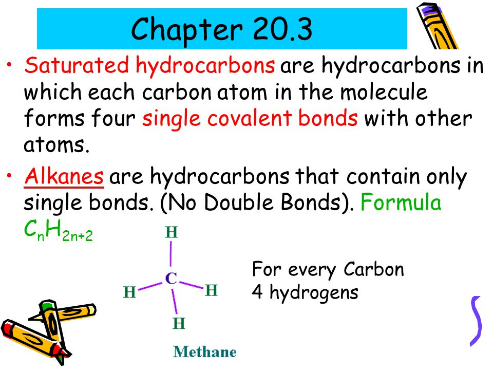 Chapter 20.3 Saturated hydrocarbons are hydrocarbons in which each carbon atom in the molecule forms four single covalent bonds with other atoms.