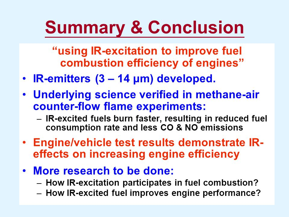 using IR-excitation to improve fuel combustion efficiency of engines