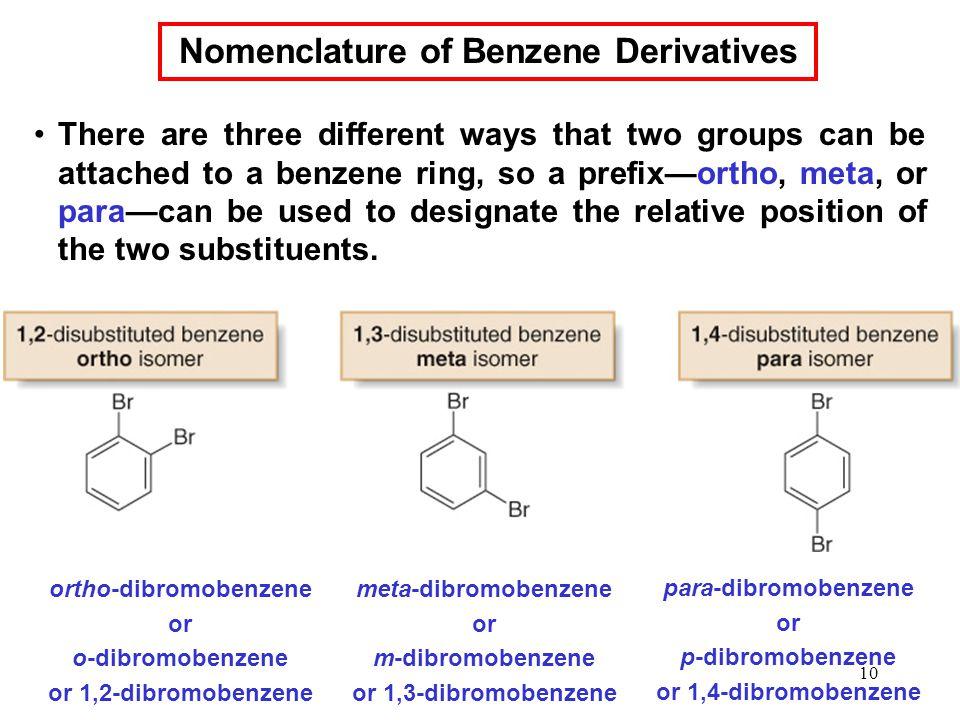 Nomenclature of Benzene Derivatives ortho-dibromobenzene