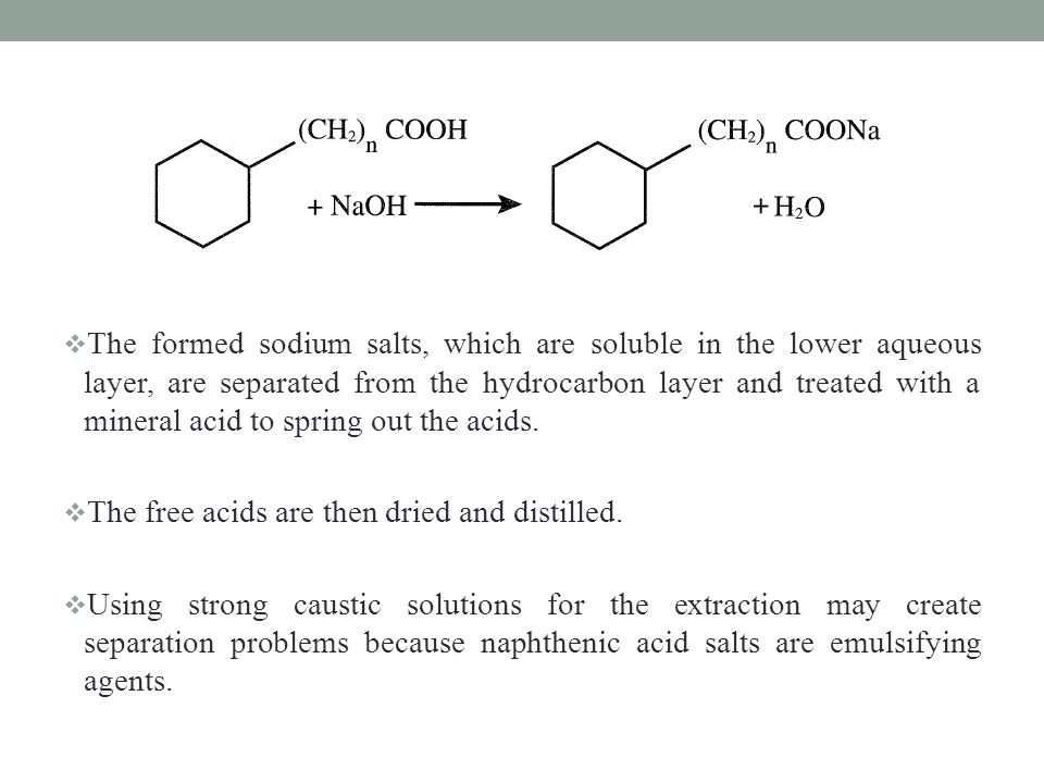 The formed sodium salts, which are soluble in the lower aqueous layer, are separated from the hydrocarbon layer and treated with a mineral acid to spring out the acids.