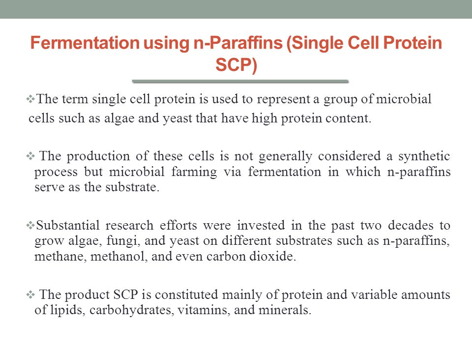 Fermentation using n-Paraffins (Single Cell Protein SCP)