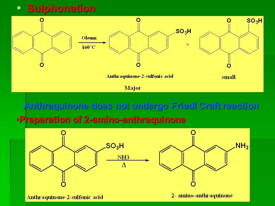 Sulphonation Anthraquinone does not undergo Friedl Craft reaction