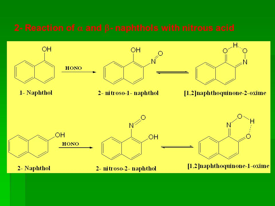 2- Reaction of  and - naphthols with nitrous acid