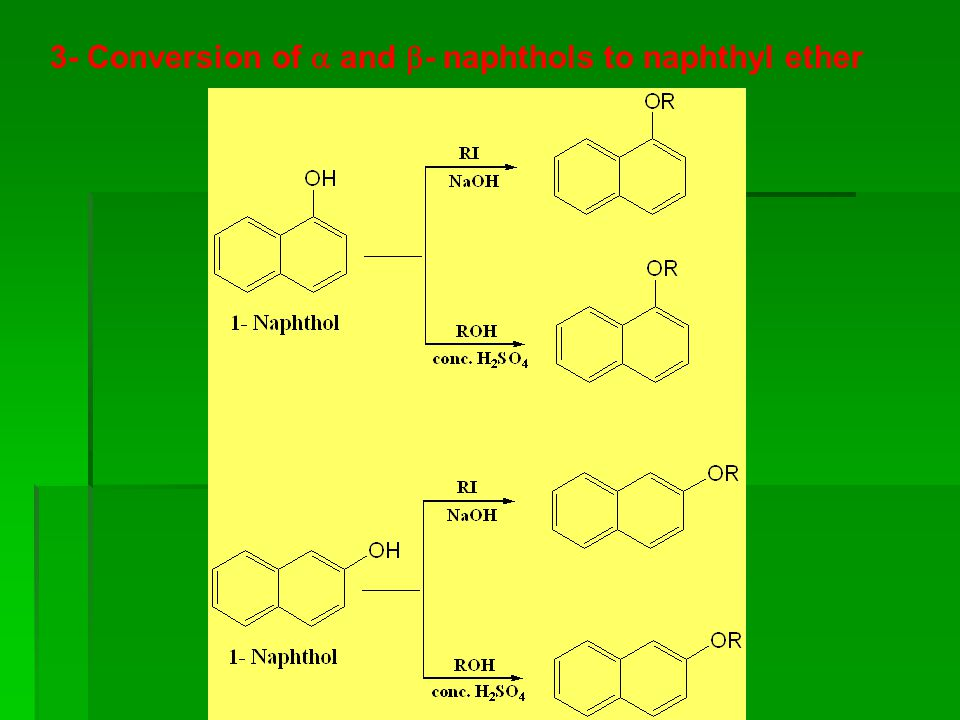 3- Conversion of  and - naphthols to naphthyl ether